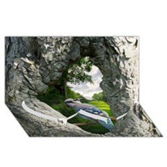 Bird In The Tree 2 Twin Heart Bottom 3d Greeting Card (8x4)  by infloence