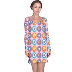 Chic Floral Pattern Long Sleeve Nightdresses
