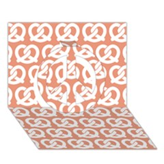 Salmon Pretzel Illustrations Pattern Peace Sign 3d Greeting Card (7x5)  by creativemom