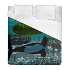 Submarine With Orca Duvet Cover Single Side (twin Size) by FantasyWorld7