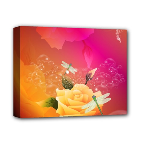 Beautiful Roses With Dragonflies Deluxe Canvas 14  X 11  by FantasyWorld7