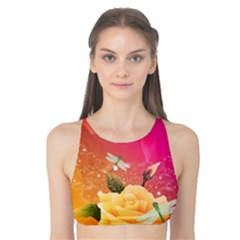 Beautiful Roses With Dragonflies Tank Bikini Top by FantasyWorld7