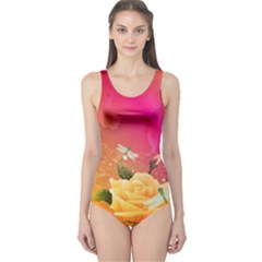 Beautiful Roses With Dragonflies Women s One Piece Swimsuits by FantasyWorld7
