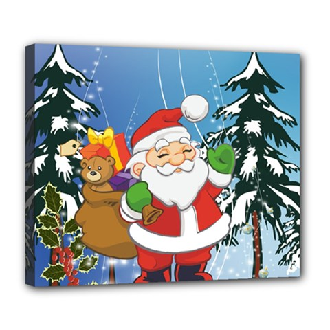 Funny Santa Claus In The Forrest Deluxe Canvas 24  X 20   by FantasyWorld7