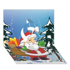 Funny Santa Claus In The Forrest Ribbon 3d Greeting Card (7x5)  by FantasyWorld7