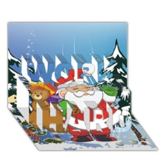 Funny Santa Claus In The Forrest Work Hard 3d Greeting Card (7x5)  by FantasyWorld7