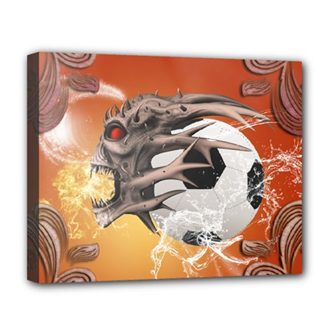 Soccer With Skull And Fire And Water Splash Deluxe Canvas 20  X 16   by FantasyWorld7