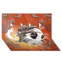 Soccer With Skull And Fire And Water Splash Twin Hearts 3d Greeting Card (8x4)  by FantasyWorld7