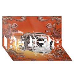 Soccer With Skull And Fire And Water Splash Believe 3d Greeting Card (8x4)  by FantasyWorld7