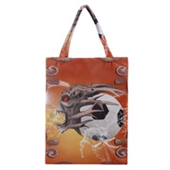Soccer With Skull And Fire And Water Splash Classic Tote Bags by FantasyWorld7