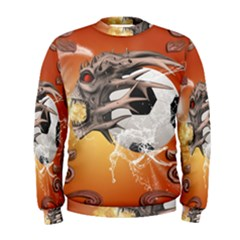 Soccer With Skull And Fire And Water Splash Men s Sweatshirts by FantasyWorld7