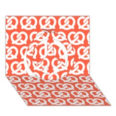 Coral Pretzel Illustrations Pattern Peace Sign 3d Greeting Card (7x5)