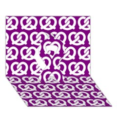Purple Pretzel Illustrations Pattern Ribbon 3d Greeting Card (7x5)