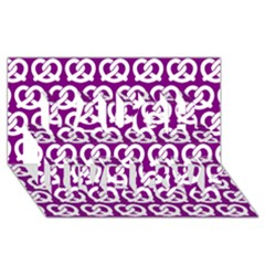 Purple Pretzel Illustrations Pattern Laugh Live Love 3d Greeting Card (8x4)  by creativemom