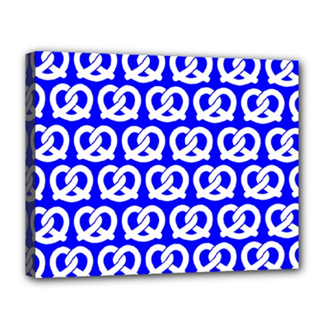 Blue Pretzel Illustrations Pattern Canvas 14  X 11  by creativemom