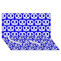 Blue Pretzel Illustrations Pattern Twin Heart Bottom 3d Greeting Card (8x4)  by creativemom