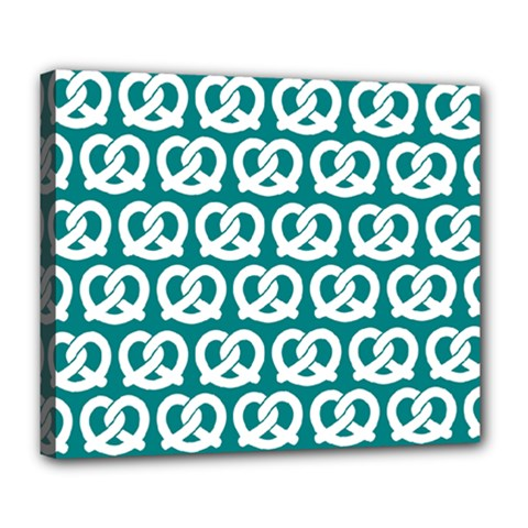 Teal Pretzel Illustrations Pattern Deluxe Canvas 24  X 20   by creativemom