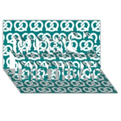 Teal Pretzel Illustrations Pattern Happy Birthday 3d Greeting Card (8x4)  by creativemom