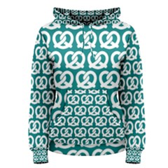 Teal Pretzel Illustrations Pattern Women s Pullover Hoodies by creativemom