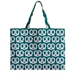 Teal Pretzel Illustrations Pattern Zipper Tiny Tote Bags by creativemom