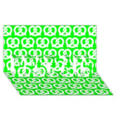 Neon Green Pretzel Illustrations Pattern Best Sis 3d Greeting Card (8x4)  by creativemom