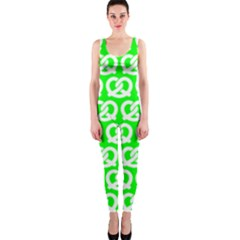 Neon Green Pretzel Illustrations Pattern Onepiece Catsuits by creativemom