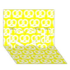 Yellow Pretzel Illustrations Pattern I Love You 3d Greeting Card (7x5)  by creativemom