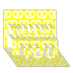 Yellow Pretzel Illustrations Pattern Thank You 3d Greeting Card (7x5)  by creativemom