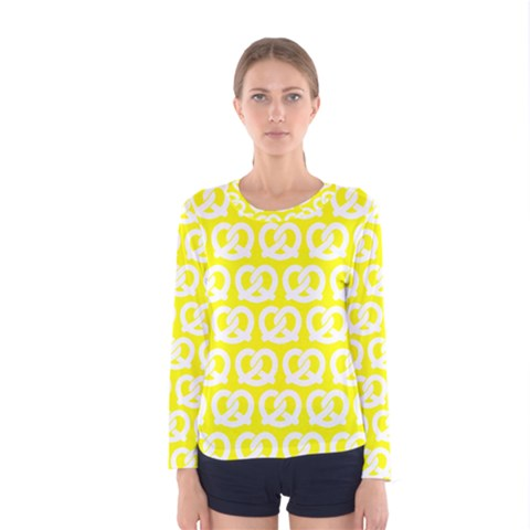 Yellow Pretzel Illustrations Pattern Women s Long Sleeve T-shirts by creativemom