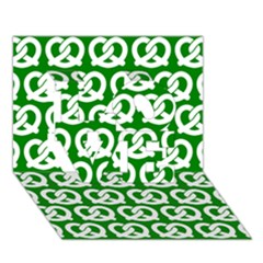 Green Pretzel Illustrations Pattern Love 3d Greeting Card (7x5)  by creativemom
