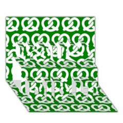 Green Pretzel Illustrations Pattern You Did It 3d Greeting Card (7x5) by creativemom