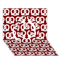 Red Pretzel Illustrations Pattern Peace Sign 3d Greeting Card (7x5)  by creativemom