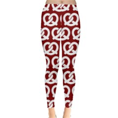 Red Pretzel Illustrations Pattern Women s Leggings by creativemom
