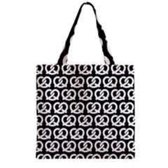 Black And White Pretzel Illustrations Pattern Grocery Tote Bags by creativemom