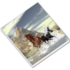 Beautiful Horses Running In A River Small Memo Pads