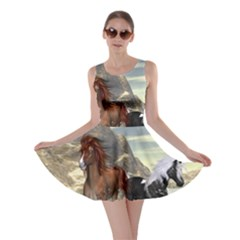 Beautiful Horses Running In A River Skater Dresses by FantasyWorld7