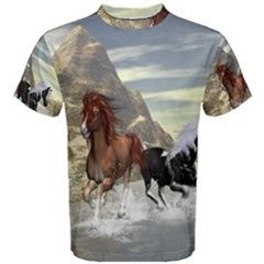 Beautiful Horses Running In A River Men s Cotton Tees by FantasyWorld7