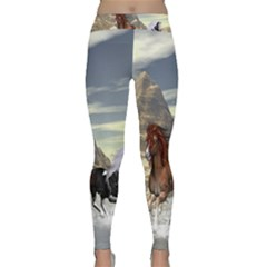 Beautiful Horses Running In A River Yoga Leggings by FantasyWorld7