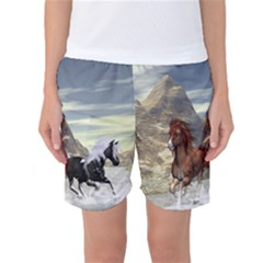 Beautiful Horses Running In A River Women s Basketball Shorts by FantasyWorld7