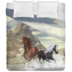 Beautiful Horses Running In A River Duvet Cover (double Size) by FantasyWorld7