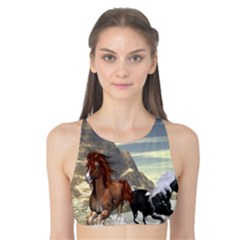 Beautiful Horses Running In A River Tank Bikini Top by FantasyWorld7
