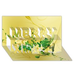 Wonderful Soft Yellow Flowers With Leaves Merry Xmas 3d Greeting Card (8x4)  by FantasyWorld7