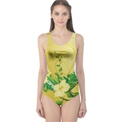 Wonderful Soft Yellow Flowers With Leaves Women s One Piece Swimsuits by FantasyWorld7