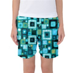 Teal Squares Women s Basketball Shorts by KirstenStarFashion
