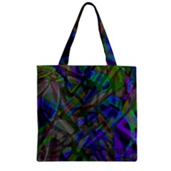Colorful Abstract Stained Glass G301 Zipper Grocery Tote Bags by MedusArt