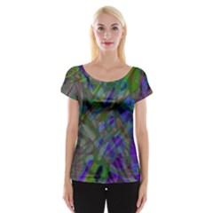 Colorful Abstract Stained Glass G301 Women s Cap Sleeve Top by MedusArt