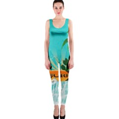Surfboard With Palm And Flowers Onepiece Catsuits by FantasyWorld7
