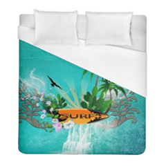 Surfboard With Palm And Flowers Duvet Cover Single Side (twin Size) by FantasyWorld7