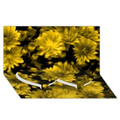 Phenomenal Blossoms Yellow Twin Heart Bottom 3d Greeting Card (8x4)