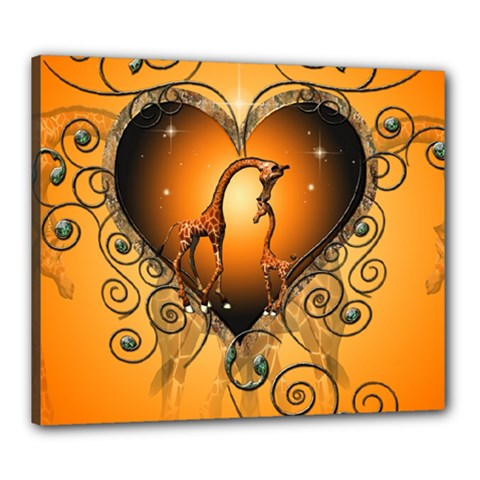 Funny Cute Giraffe With Your Child In A Heart Canvas 24  X 20  by FantasyWorld7